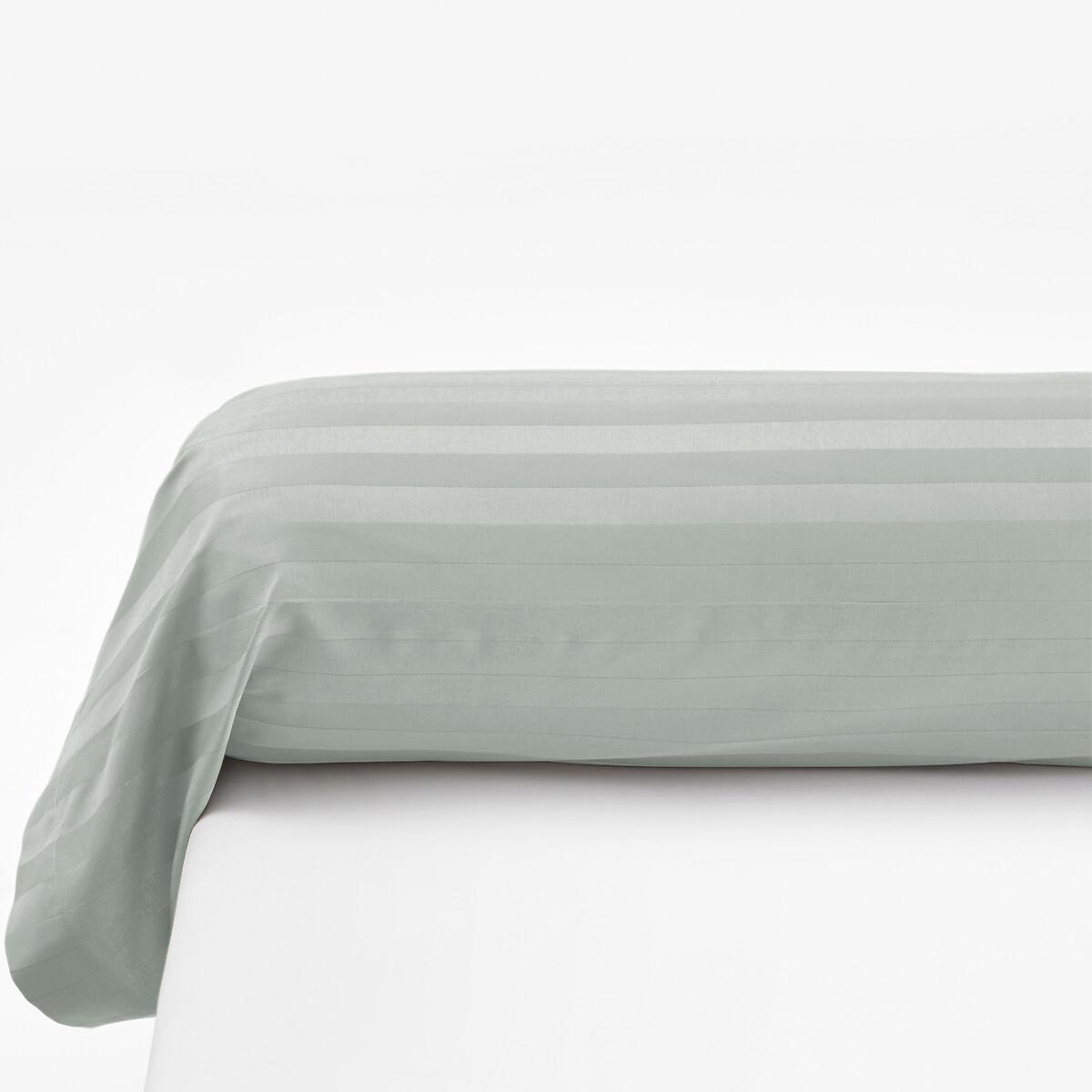 Наволочка LaRedoute На подушку-валик из хлопкового сатина в полоску 85 x 185 см зеленый пододеяльник laredoute из 100 хлопкового сатина в полоску 240 x 220 см зеленый