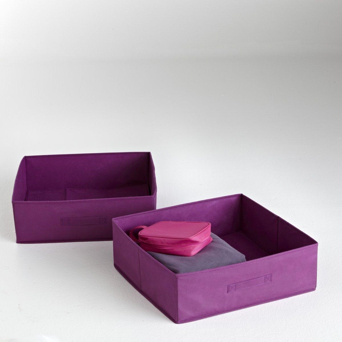 2 ящика складныхКрасивое и оригинальное решением для хранения вещей. Складной ящик из нетканого материала. Картонная основа. Размер: 45 х 15 х 45 см.<br><br>Цвет: фиолетовый/ сливовый