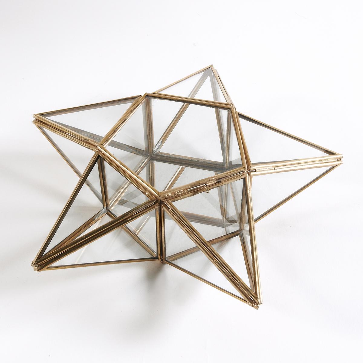 Коробка для украшений в форме звезды из стекла и латуни Uyova