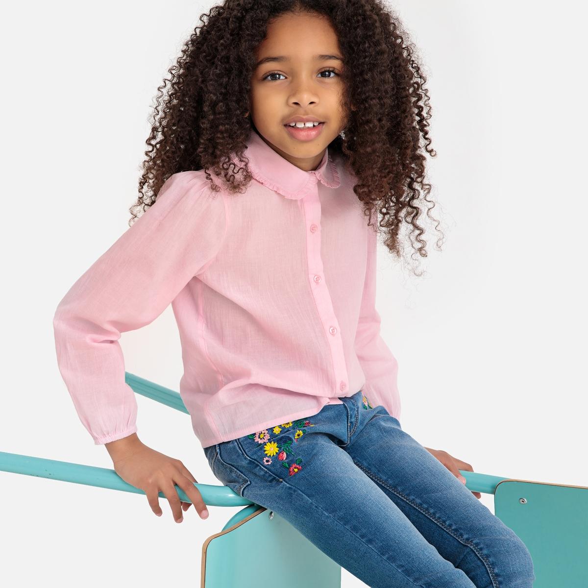 Рубашка La Redoute С отложным воротником с воланами 3 года - 94 см розовый пиджак с отложным воротником b young