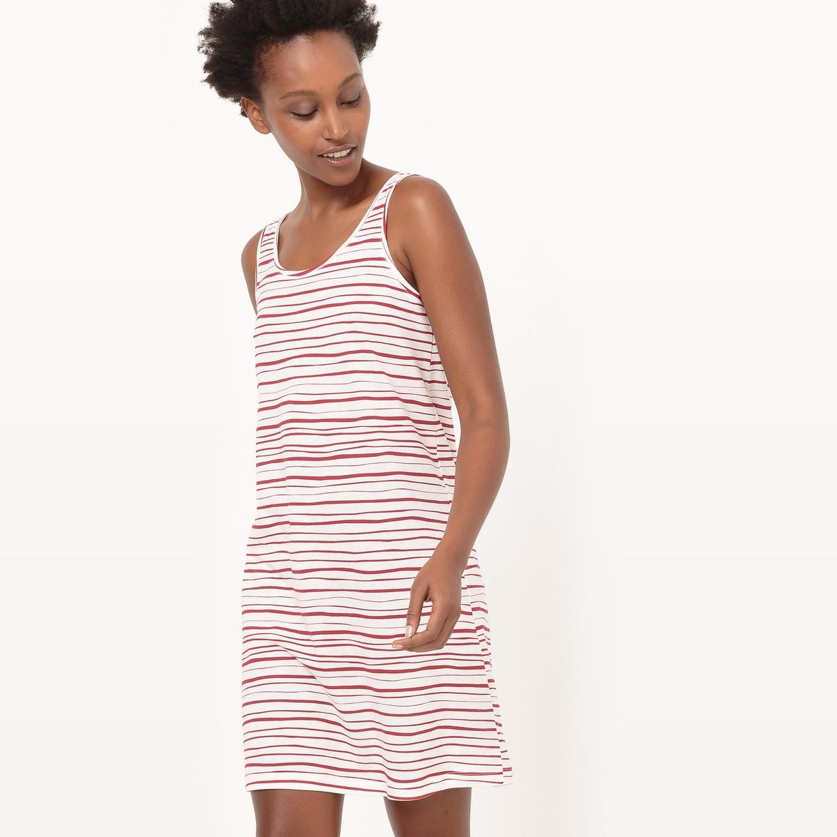 Платье в полоску без рукавов из биохлопка