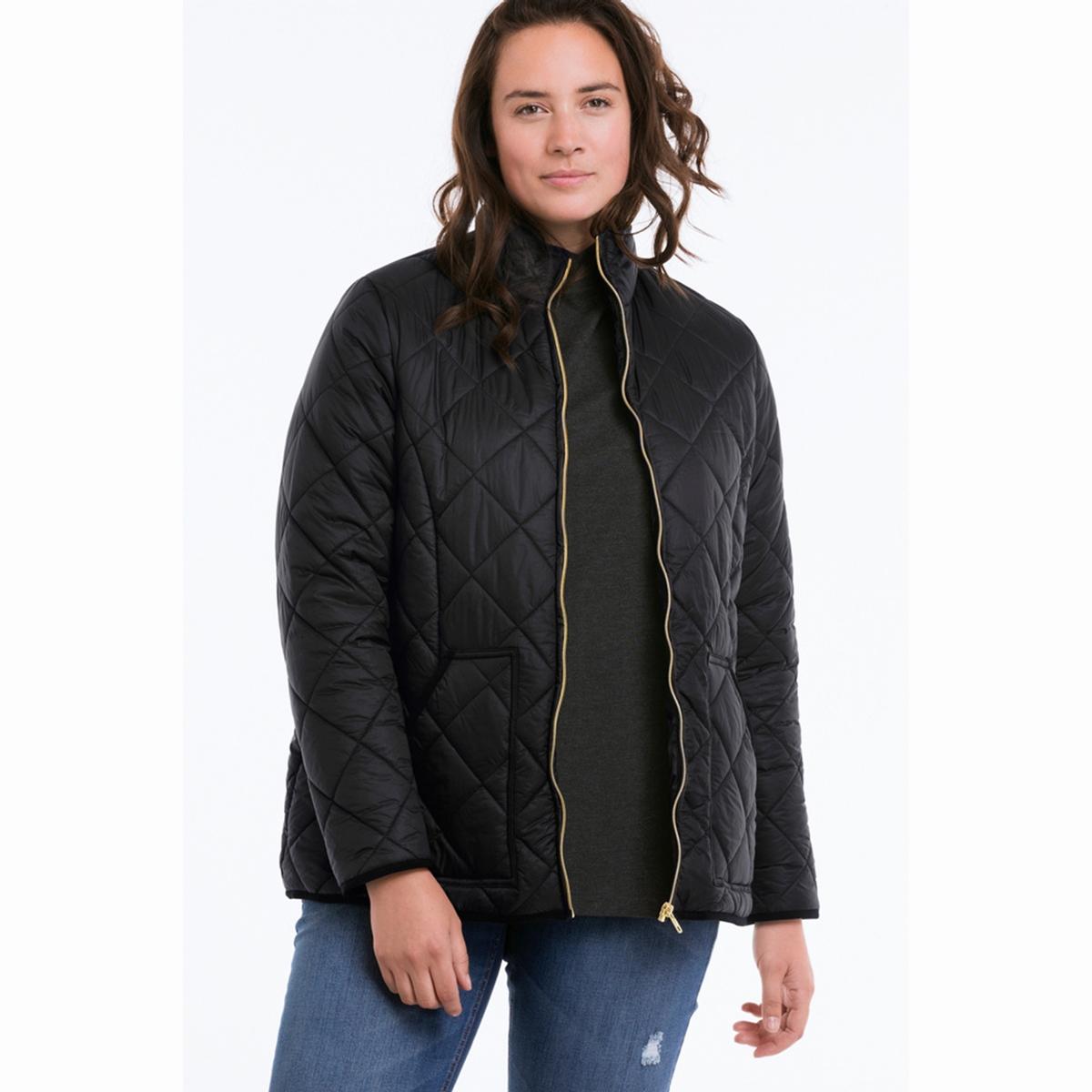 КурткаКуртка стеганая Куртка стеганая. Верх куртки из стеганой ткани с водоотталкивающим эффектом. Высокий воротник, два кармана. Отделка краев рукавов, карманов и низа эластичной бейкой. Застежка на пластмассовую молнию золотистого цвета. Длина ок. 71 см. для размера 44. 100% полиамид.Утеплитель: 100% полиэстер.Покрой: стандартный..Машинная стирка при 40 °С в деликатном режиме<br><br>Цвет: сливовый,черный<br>Размер: 48 (FR) - 54 (RUS).56 (FR) - 62 (RUS)