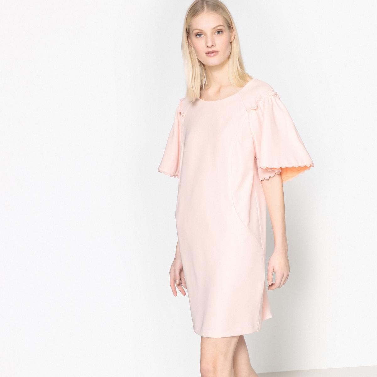 Платье La Redoute Короткое прямое однотонное с короткими рукавами 42 (FR) - 48 (RUS) розовый цена и фото