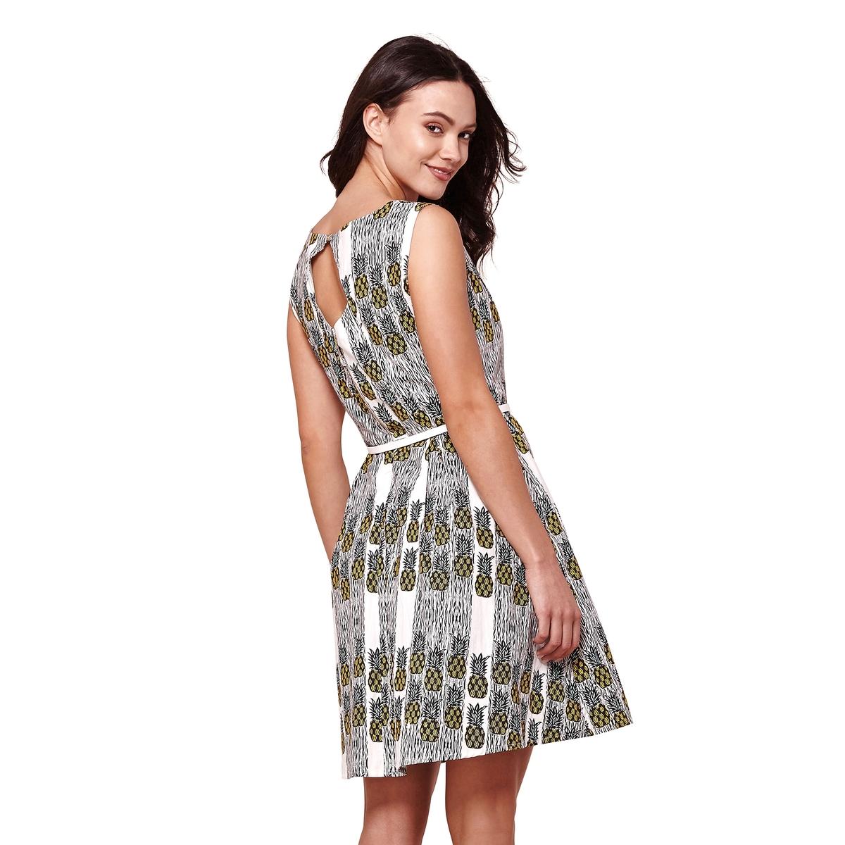 Платье без рукавов с рисунком ананас и застежкой сзади платье yumi yumi платье