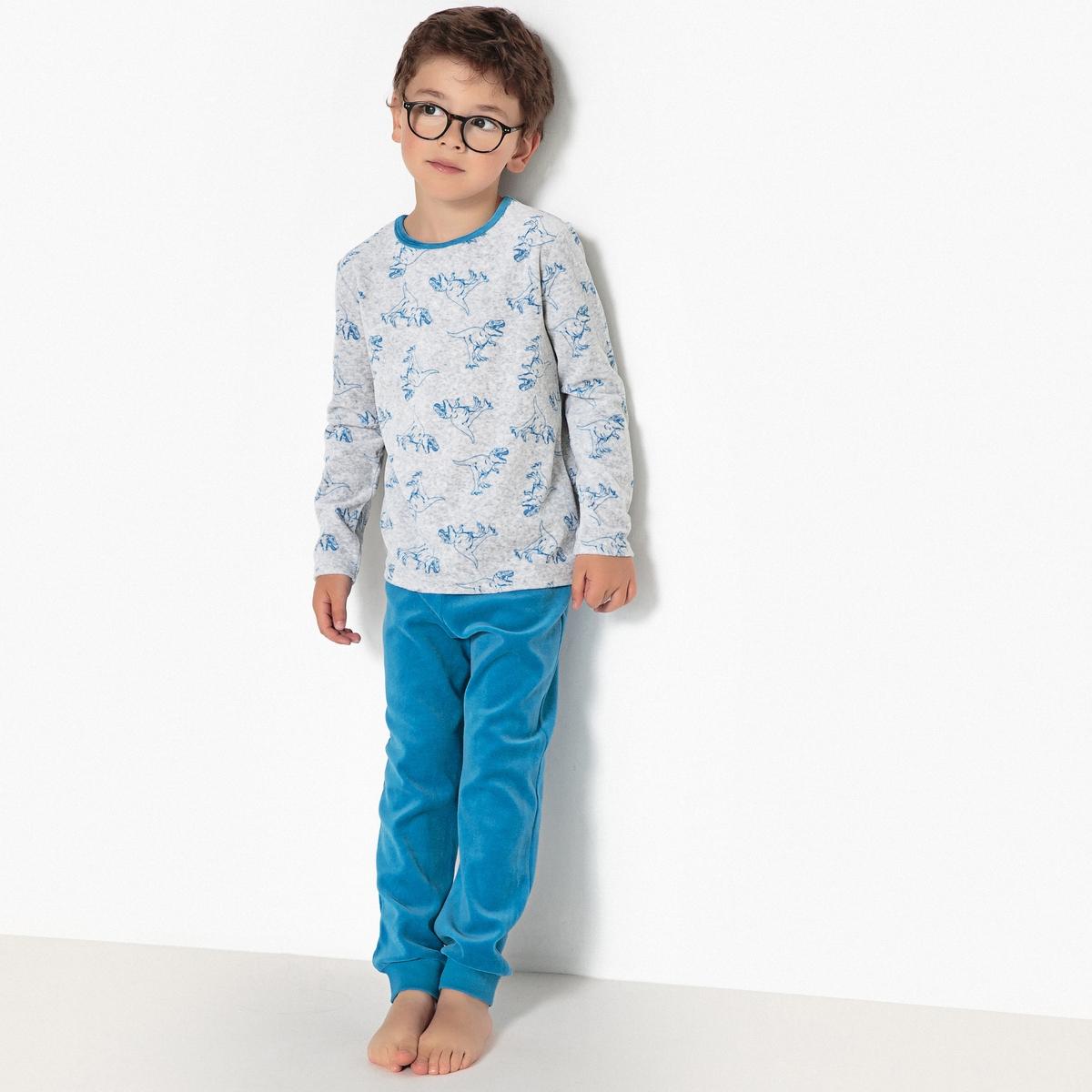 Пижама из велюра с рисунком динозавры, 3-12 лет пижама с шортами с рисунком