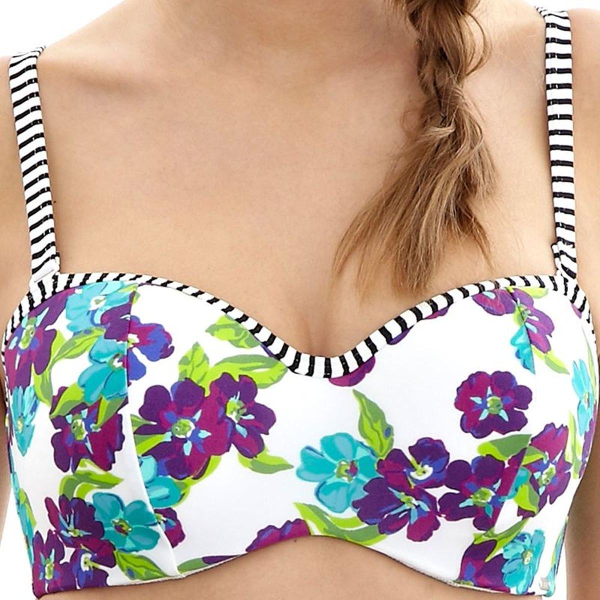 Haut de maillot de bain bandeau à armatures Panache ELLE white floral