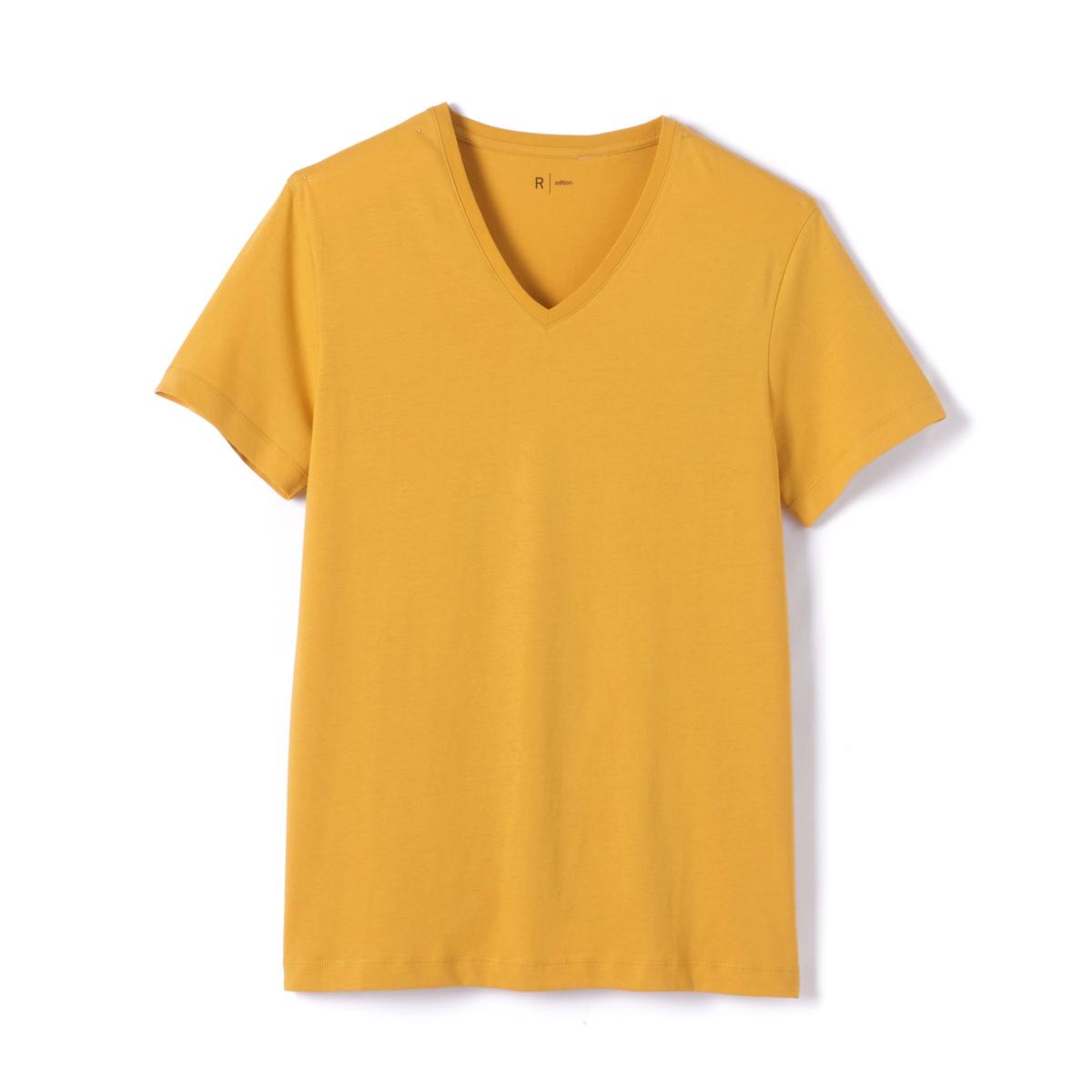 Футболка хлопковая с V-образным вырезомОписание:Детали •  Короткие рукава •   V-образный вырезСостав и уход •  100% хлопок •  Машинная стирка при 40° •  Сухая чистка и отбеливание запрещены •  Барабанная сушка при умеренном режиме •  Гладить при средней температуре<br><br>Цвет: бордовый меланж,желтый,зеленый,ярко-синий<br>Размер: XS.S.M.M