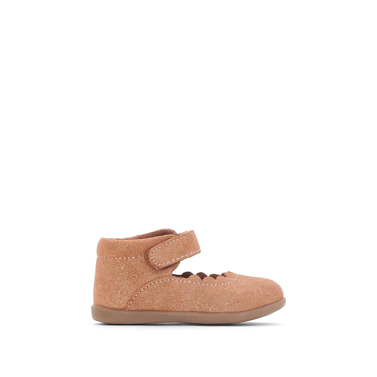Балетки кожаные блестящие 19-25 ботинки блестящие с помпонами 19 24