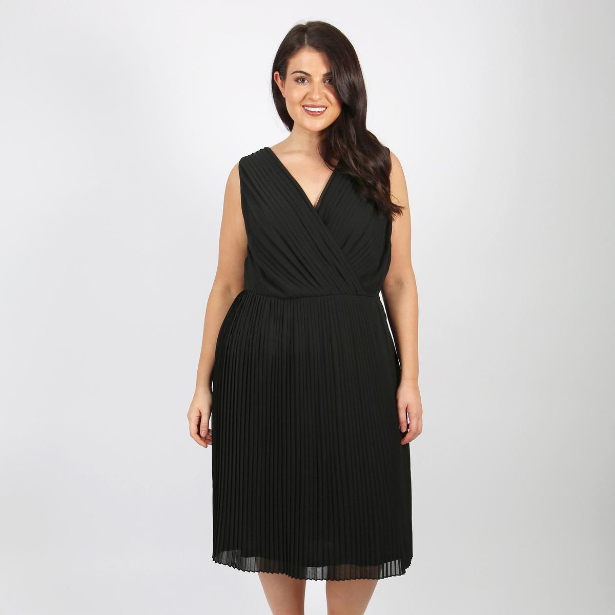 Sukienka rozkloszowana, półdługa, bez rękawów, gładka