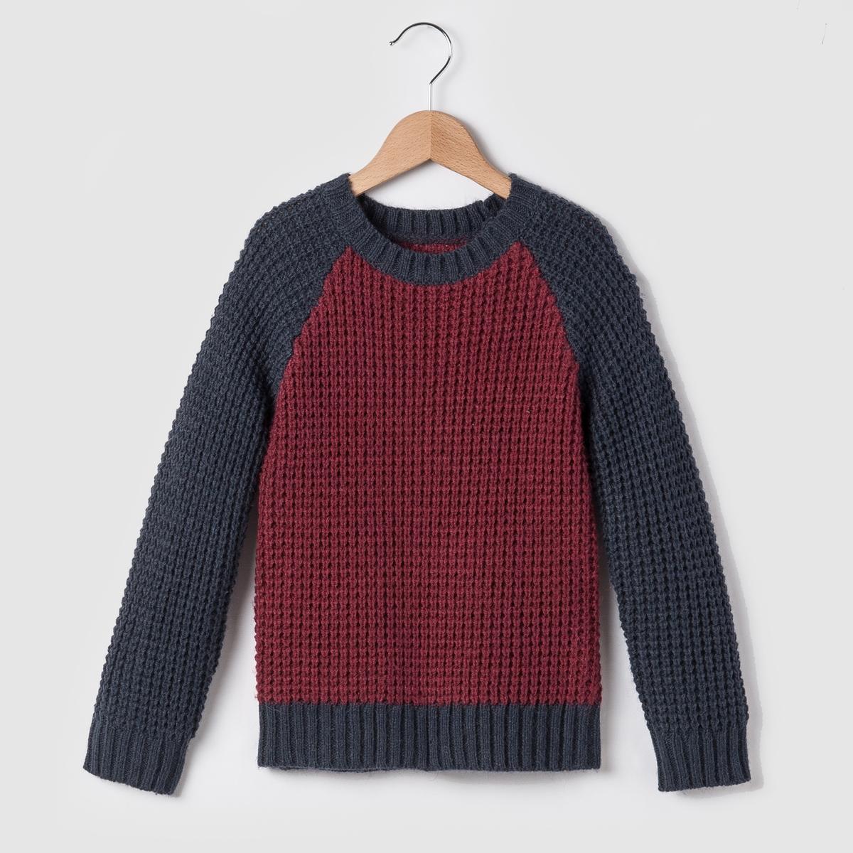 Пуловер тёплый, двухцветный, 3-12 лет