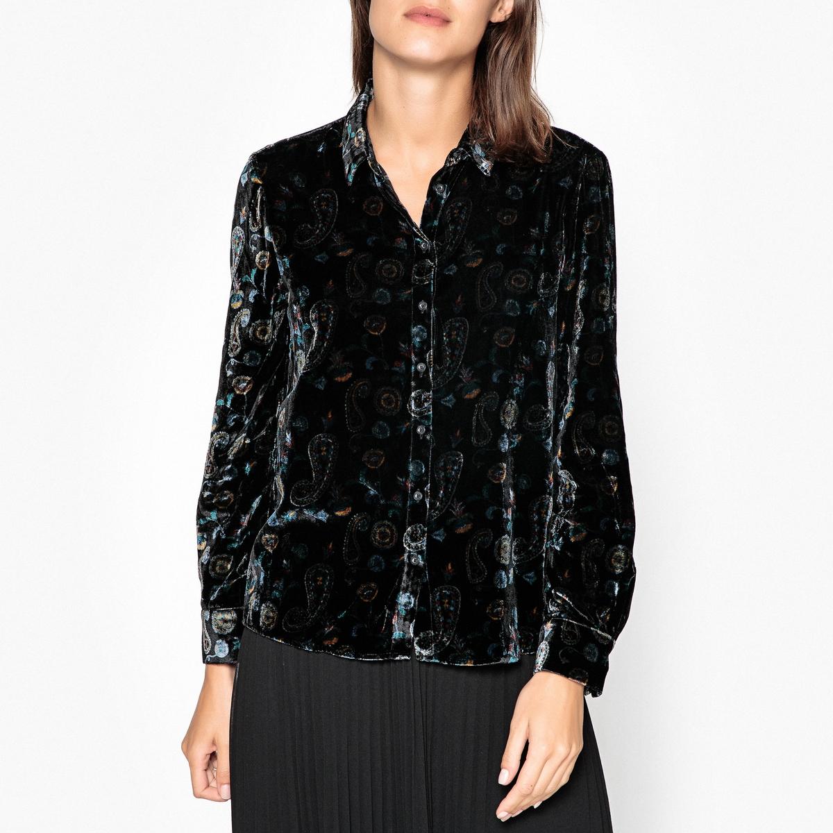 Рубашка велюровая с принтом ostin рубашка с новогодним принтом