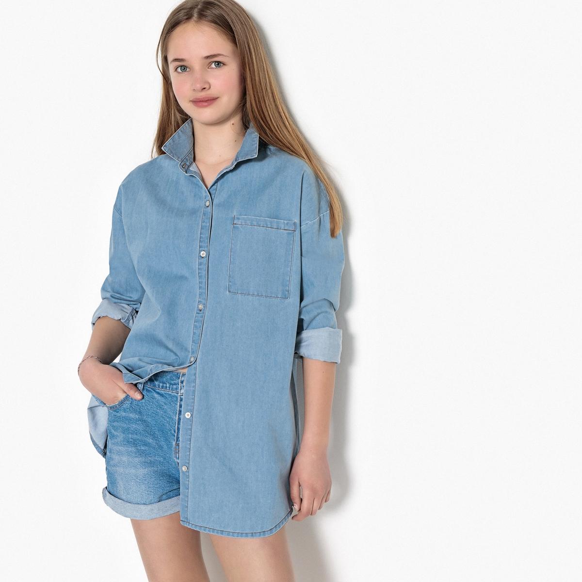 Рубашка покроя оверсайз из джинсовой ткани, 10-16 лет