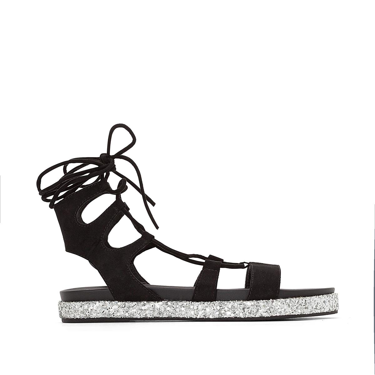 Сандалии плоские высокие S382C-11Верх : текстиль   Подкладка : синтетика   Стелька : синтетика   Подошва : синтетика   Высота каблука : 2 см   Форма каблука : плоский каблук   Мысок : закругленный мысок  Застежка : завязки<br><br>Цвет: черный