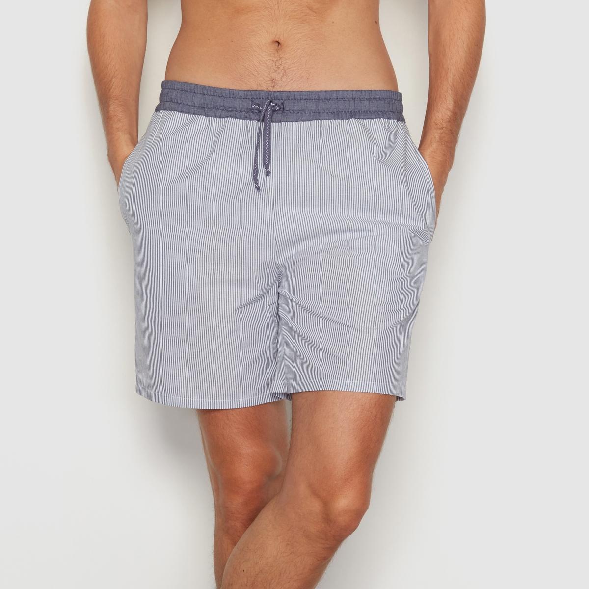 Шорты пижамные в полоску, 100% хлопкаШорты пижамные с эластичным поясом и завязками . Контрастный пояс. Тонкие полоски.Состав и описание:- Материал: 100% хлопка.- Марка: R essentiel.<br><br>Цвет: синий/ в полоску<br>Размер: 36/38
