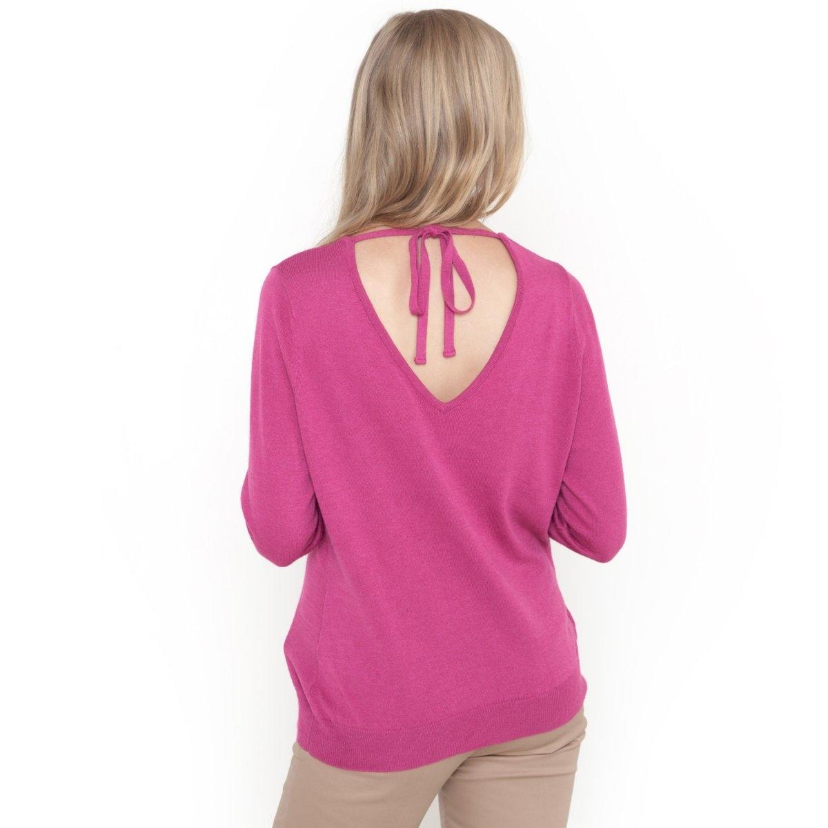 Пуловер с V-образным вырезом спереди и сзади