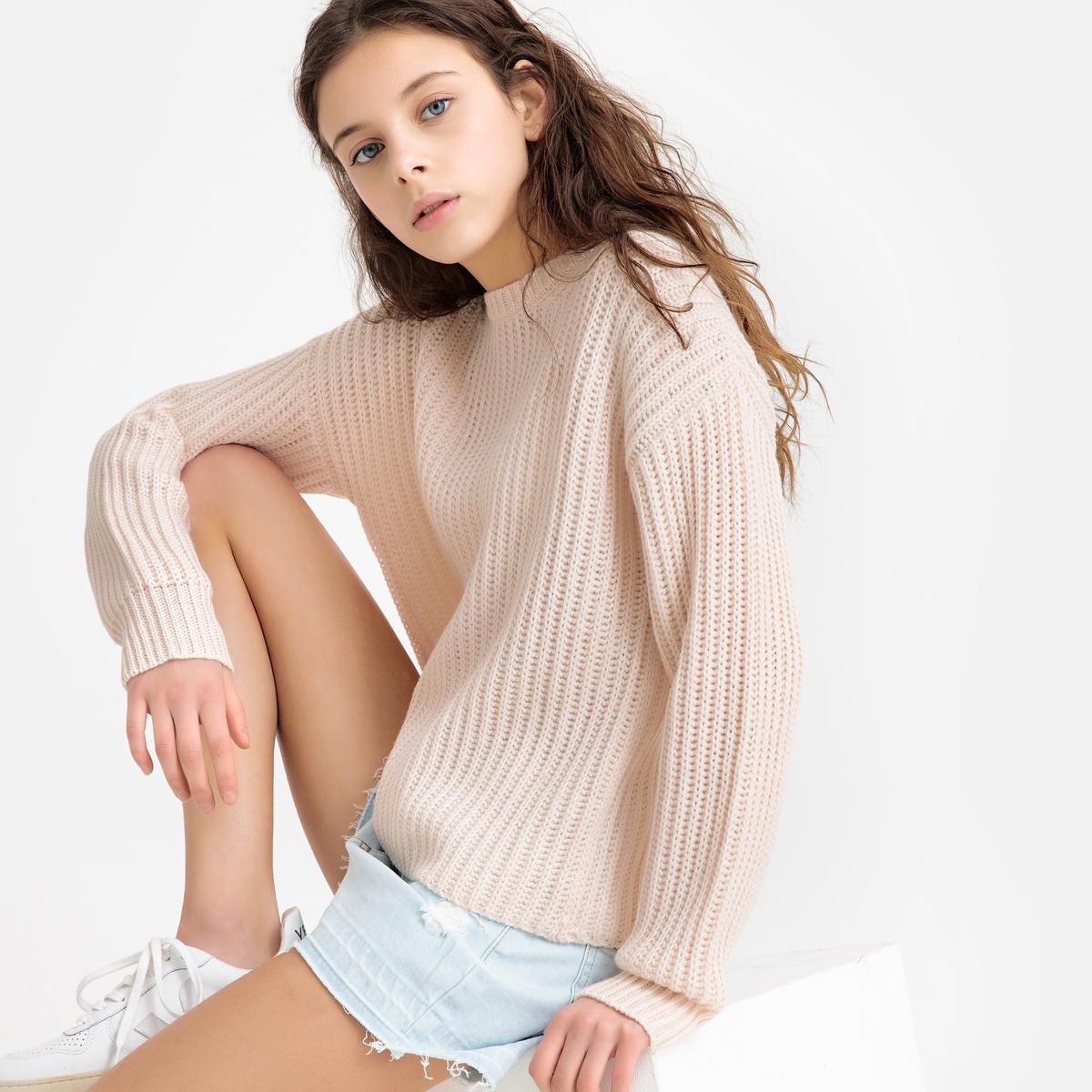 Пуловер La Redoute С круглым вырезом из плотного трикотажа 10 лет - 138 см розовый пуловер la redoute с круглым вырезом и надписью из пайеток 12 лет 150 см розовый