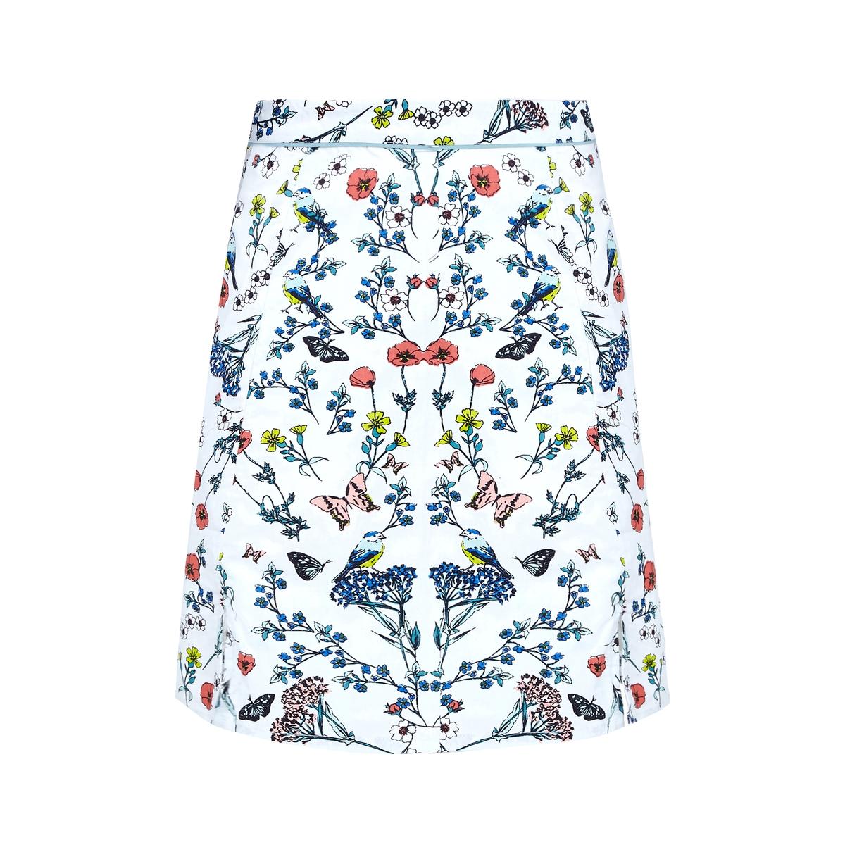 Юбка длиной до колен с цветочным рисункомМатериал : 100% хлопок   Рисунок : цветочный  Длина юбки : до колен<br><br>Цвет: слоновая кость<br>Размер: 36 (FR) - 42 (RUS)