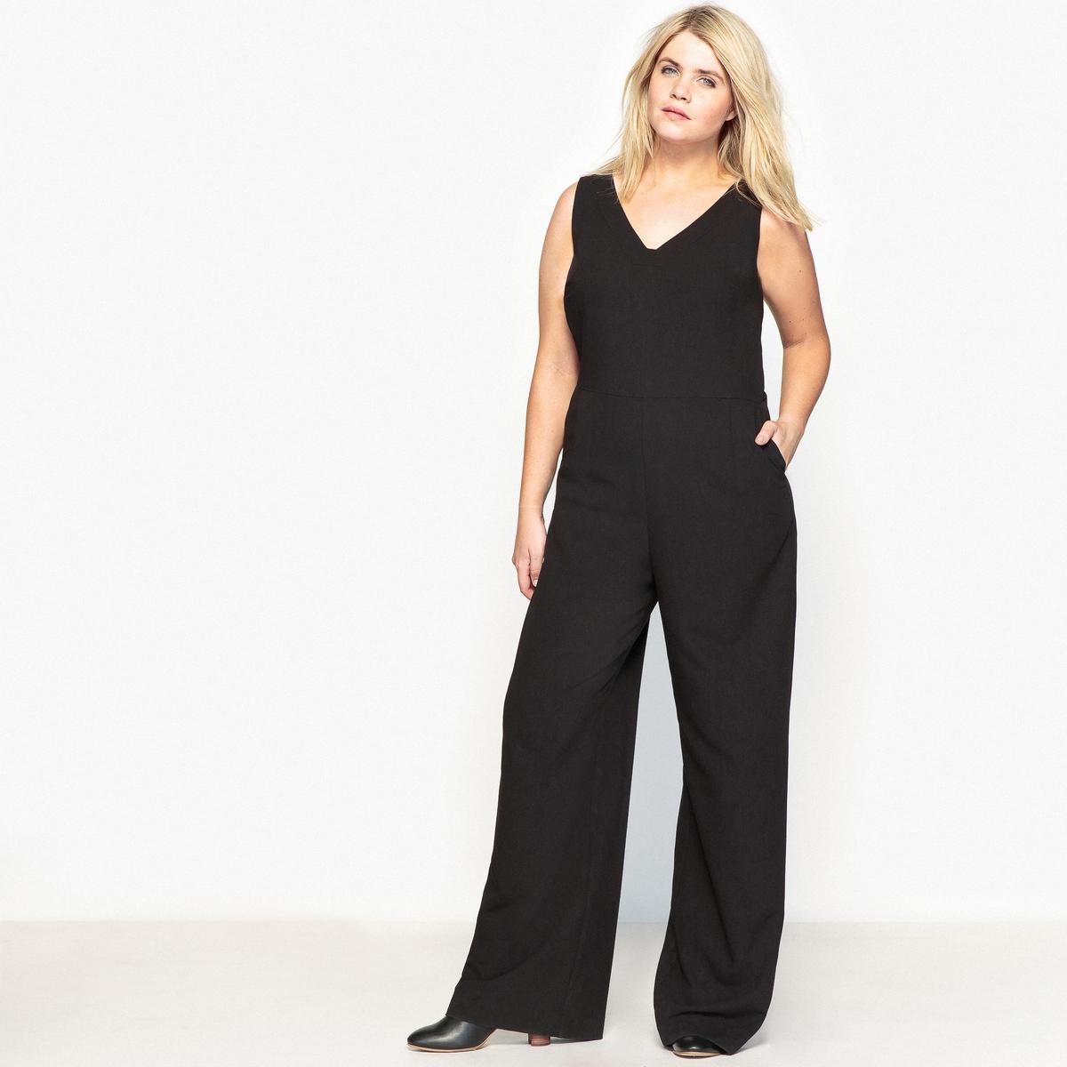 Комбинезон с широкими брюками без рукавов