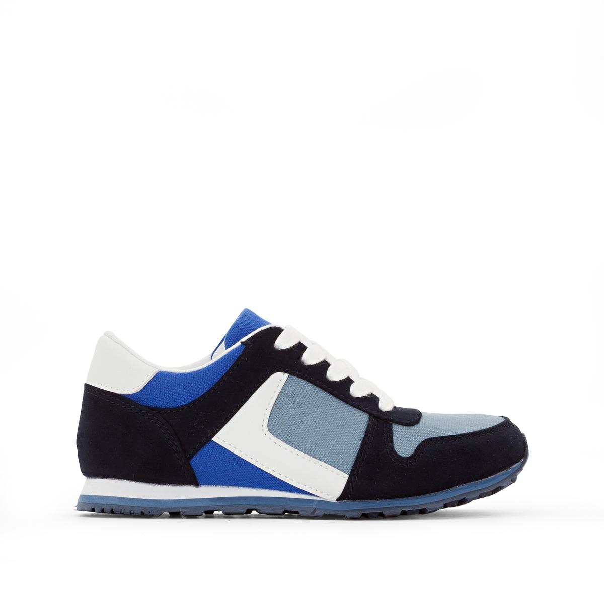 Кеды синтетическиеДетали  •  Спортивный стиль •  Плоский каблук •  Застежка : шнуровкаСостав и уход  •  Верх 50% хлопка, 50% синтетики •  Подкладка 100% хлопок<br><br>Цвет: темно-синий + индиго + синий<br>Размер: 26.27.31.32