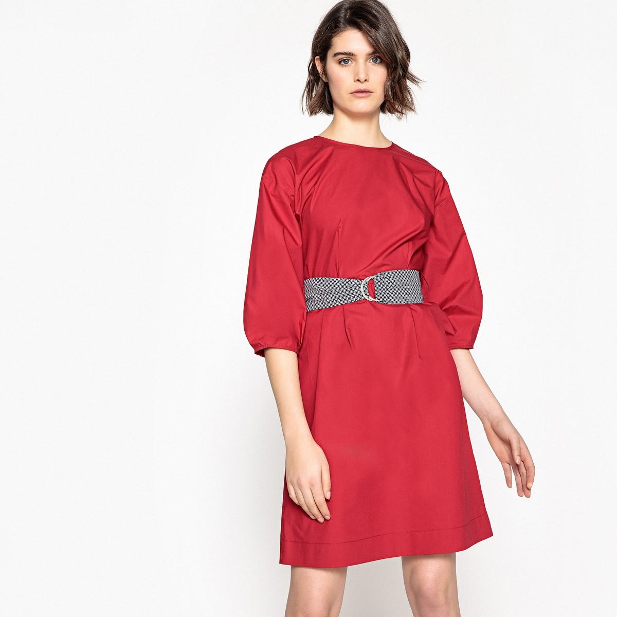 Платье La Redoute Прямое однотонное с поясом с рисунком 34 (FR) - 40 (RUS) красный цена и фото