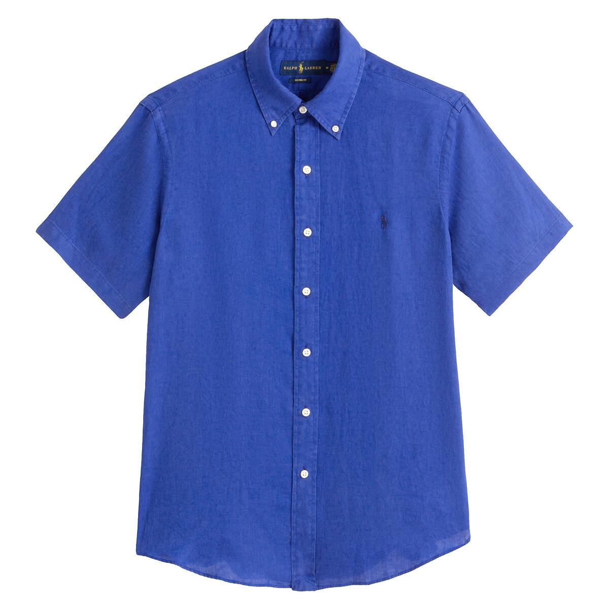 Рубашка La Redoute Прямого слегка зауженного покроя с короткими рукавами из льна M синий цена 2017