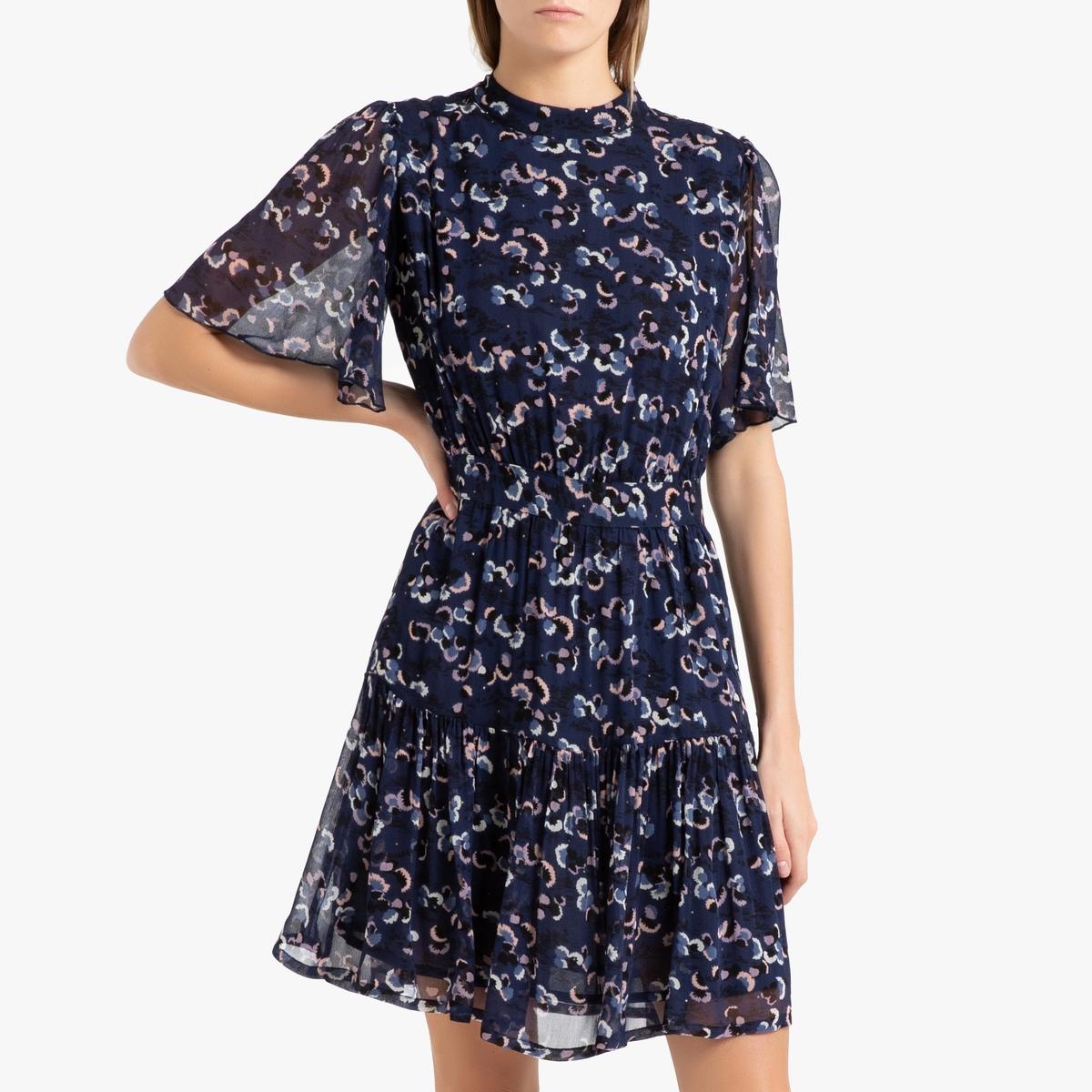 Платье La Redoute Короткое с короткими рукавами NYMPHEA S синий