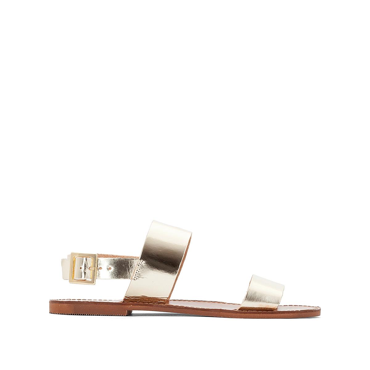 Босоножки кожаные AoudaВерх : кожа   Подкладка : кожа   Стелька : кожа   Подошва : эластомер   Форма каблука : плоский каблук   Мысок : закругленный мысок   Застежка : пряжка<br><br>Цвет: золотистый<br>Размер: 39