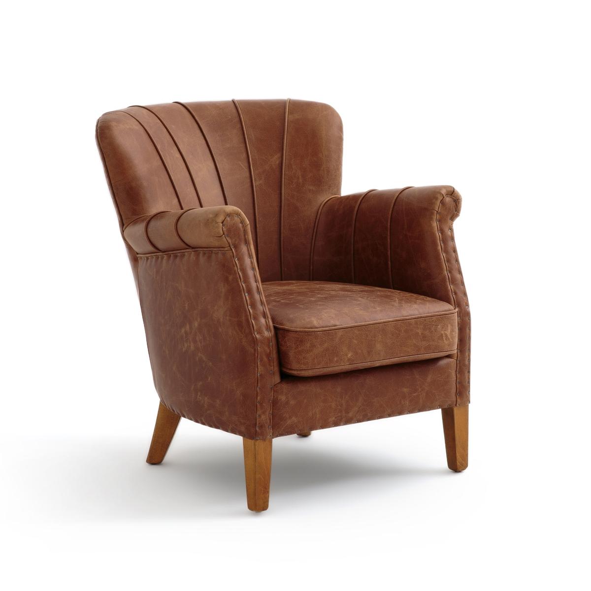 Кресло LaRedoute Из яловичной кожи NOTTINGHAM единый размер каштановый