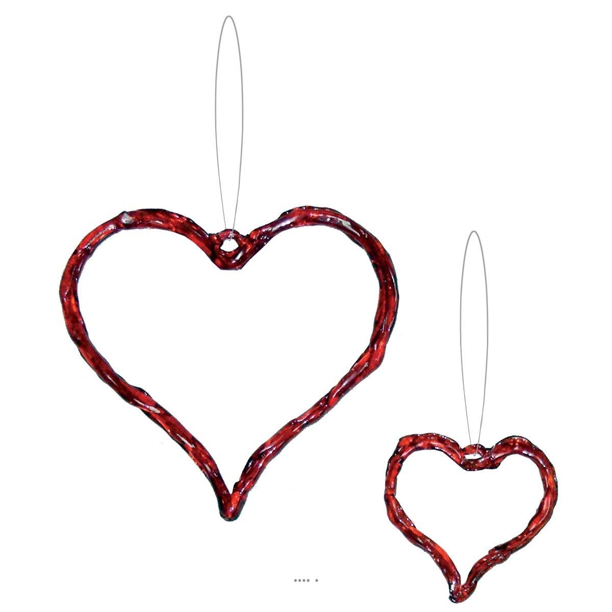 Coeurs Amour toujours 2 pieces H 8 et 15 cm