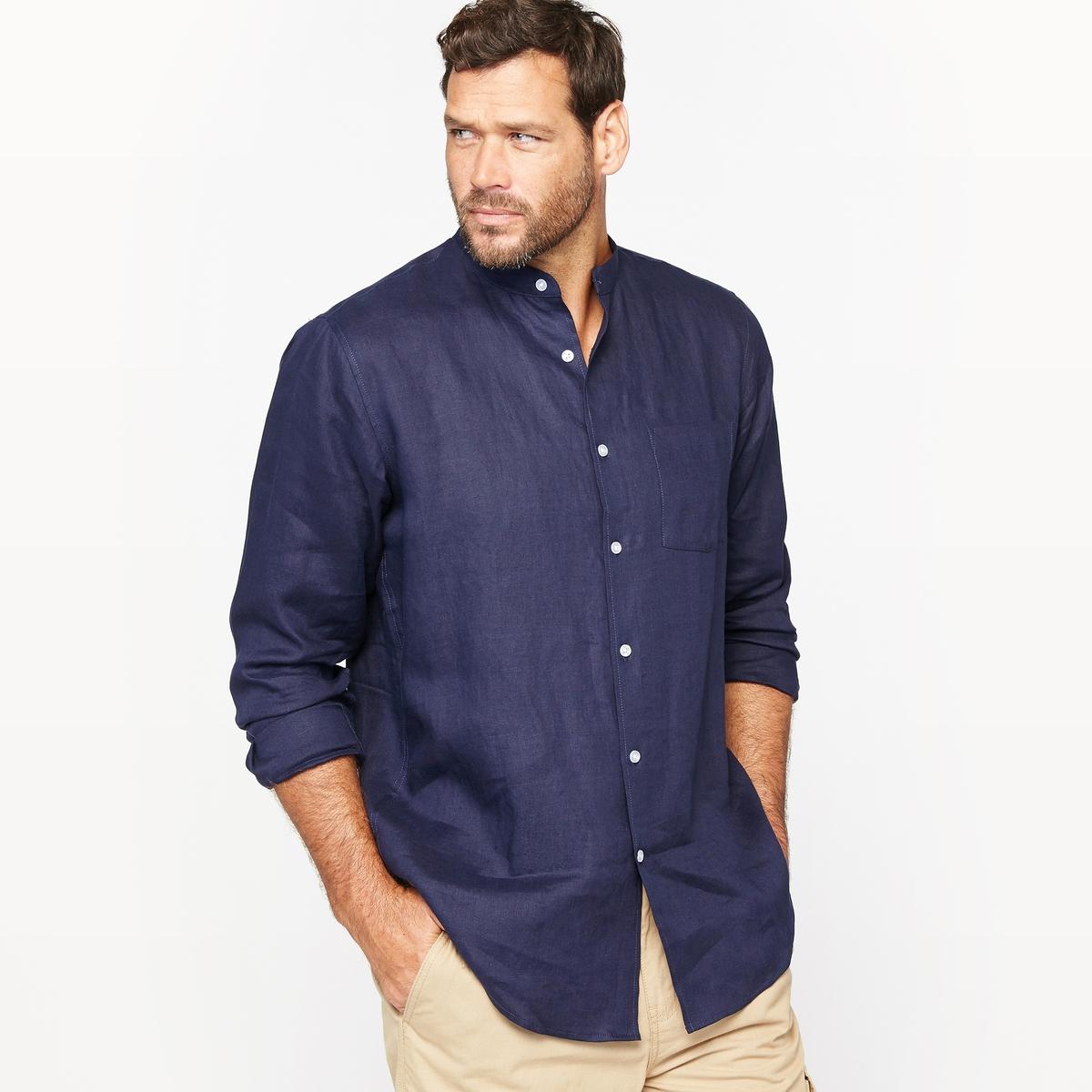 Рубашка с длинными рукавами и воротником-стойкой из льнаРубашка с воротником-стойкой. Длинные рукава. 1 накладной нагрудный карман. Закругленный низ. Складка с полоской ткани на спинке. 100% лен. - длина рубашки спереди : 85 см для размера 41/42 и 93 см для размера 57/58.- длина рукавов : 67 см<br><br>Цвет: белый,темно-синий<br>Размер: 55/56.51/52.43/44