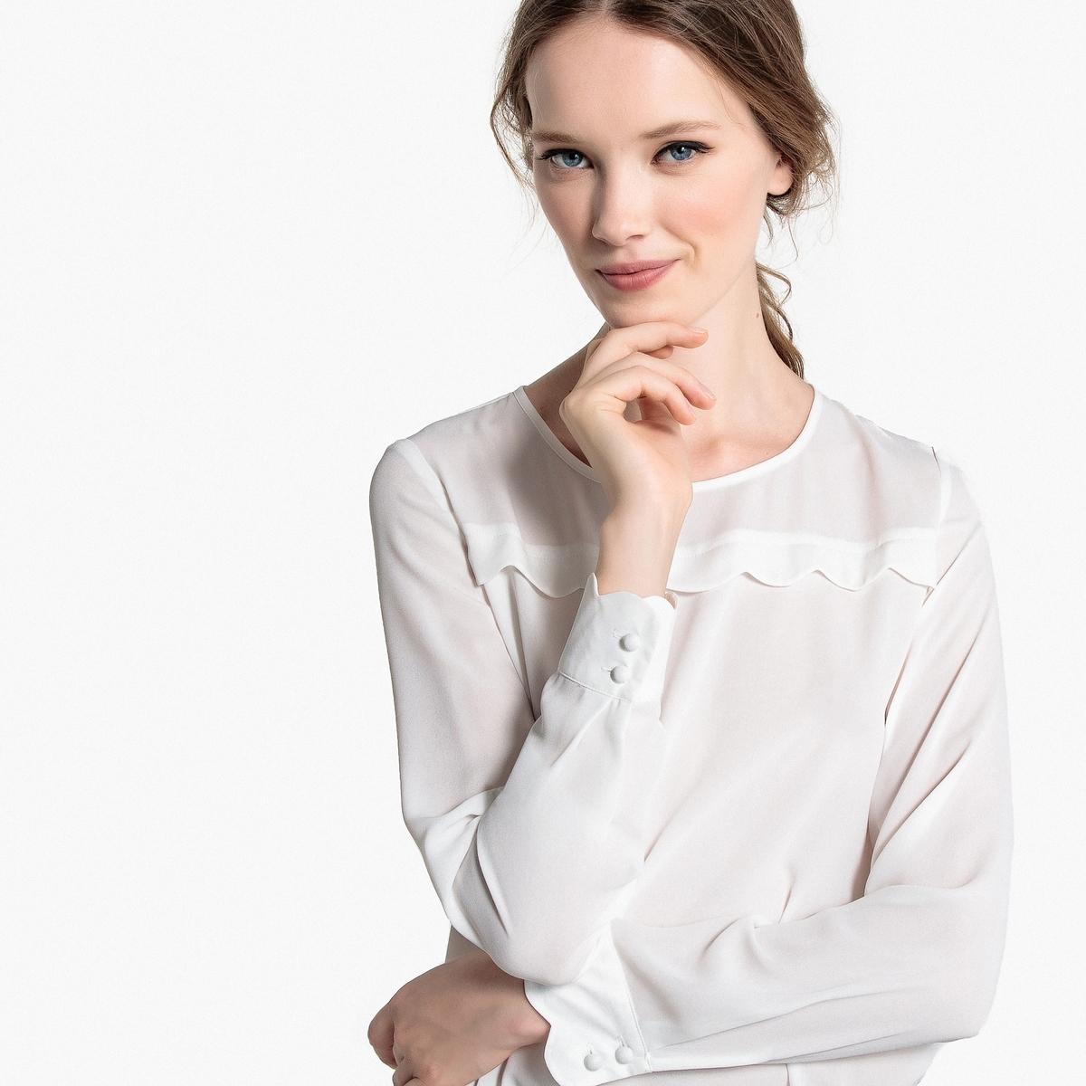 Блузка La Redoute С длинными рукавами и манишкой с отделкой фестоном 48 (FR) - 54 (RUS) белый