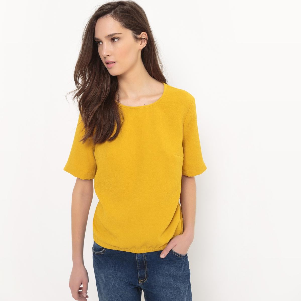 Блузка с короткими рукавами и эластичным поясом