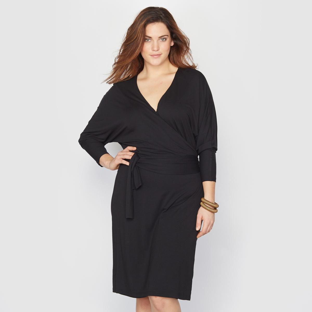Платье с запахомПлатье с запахом и завязками  . Смотрится очень выигрышно  . Рукава 3/4 летучая мышь . Elastiqu?e ? la taille pour plus de confort. Трикотаж, 95% вискозы, 5% эластана. Длина 100 см.<br><br>Цвет: черный<br>Размер: 54/56 (FR) - 60/62 (RUS)