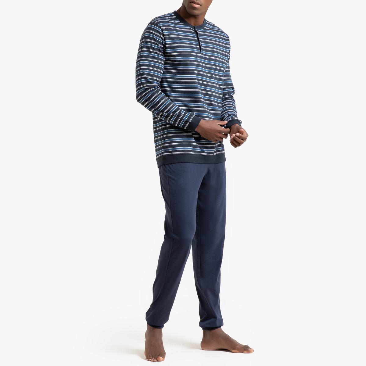 Пижама La Redoute Из хлопка джерси XL синий футболка с тунисским вырезом из 100% хлопка с эффектом фламме