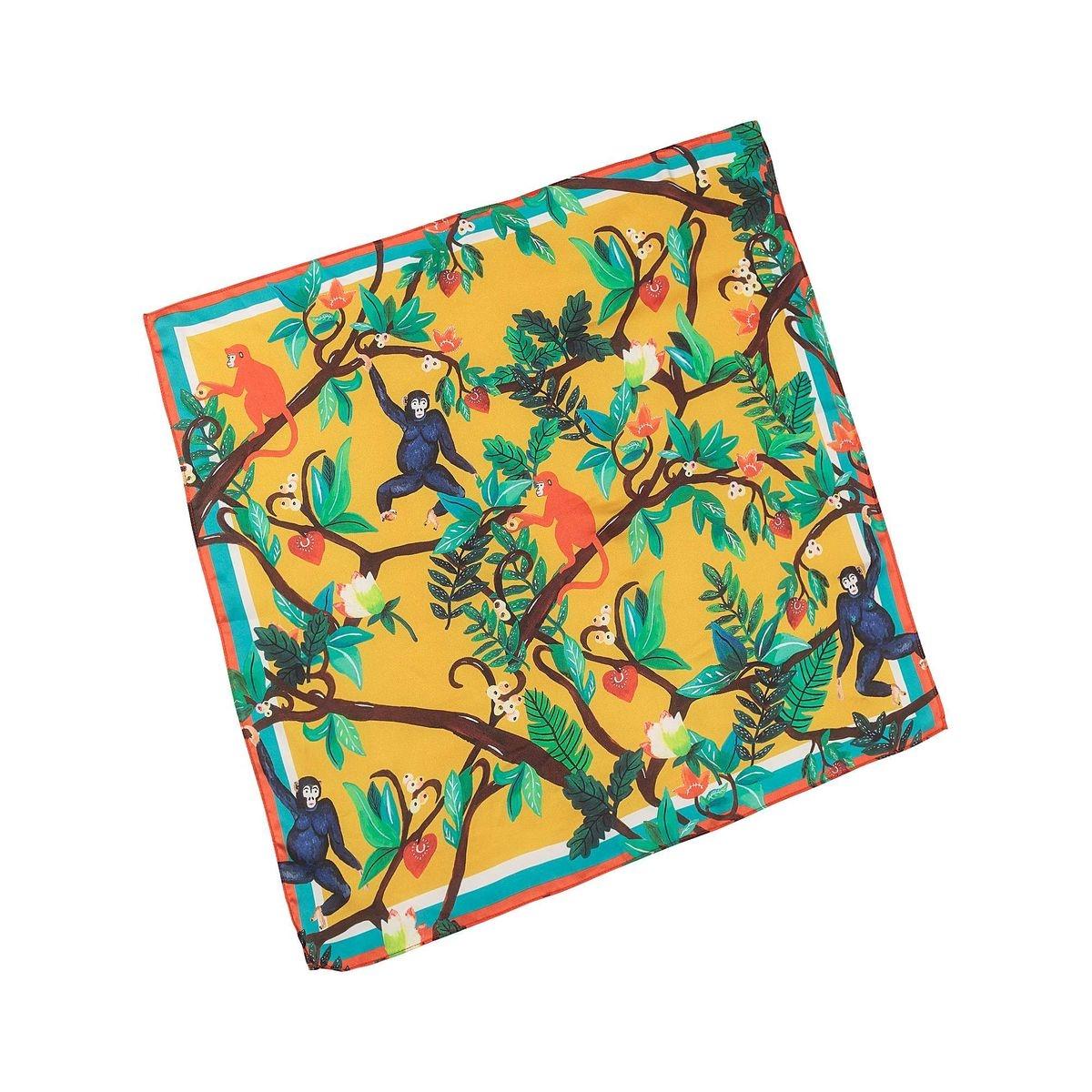 Foulard carré imprimé singe