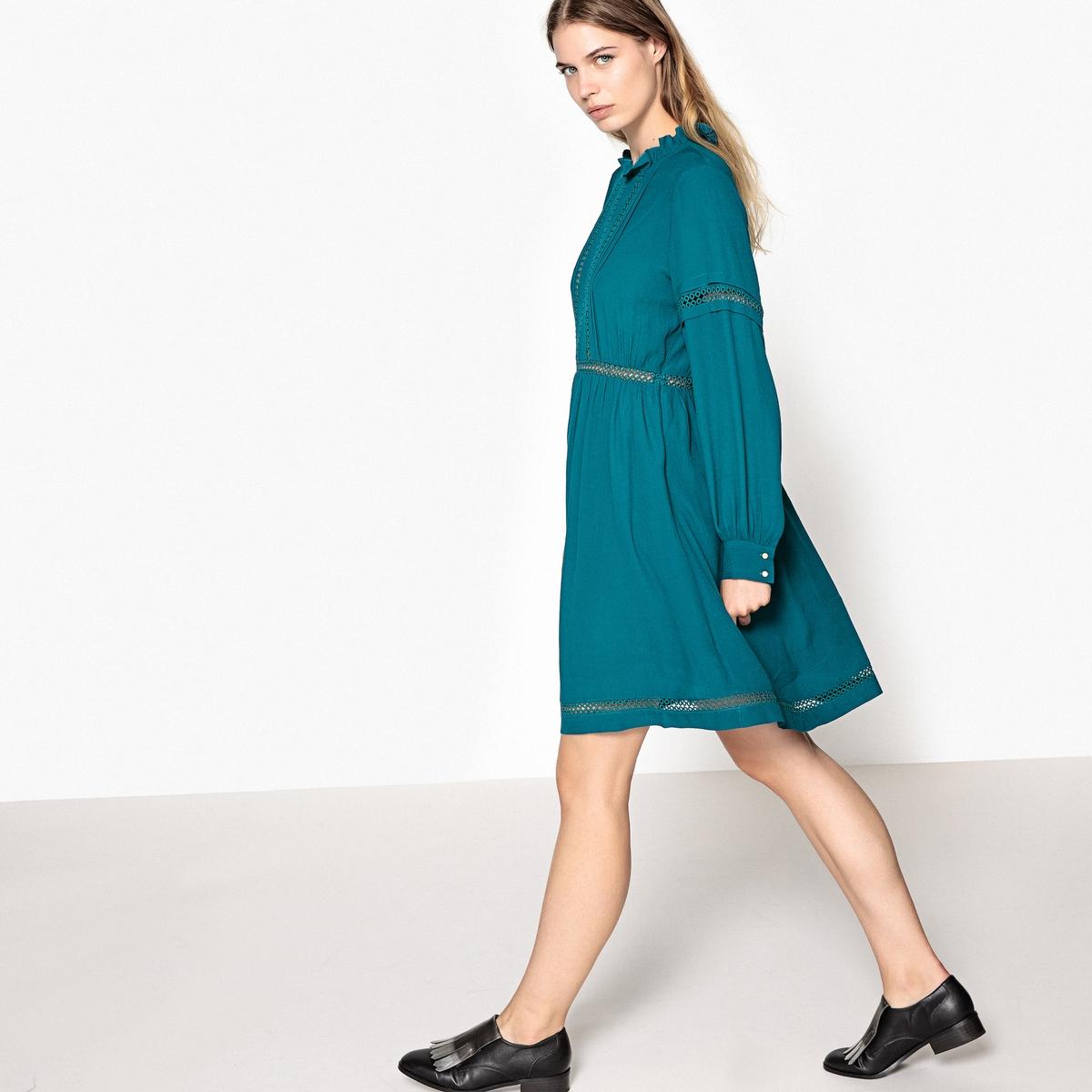 Платье однотонное короткого и расклешенного покроя с длинными рукавамиДетали •  Форма : расклешенная •  Укороченная модель •  Длинные рукава    •  Круглый вырезСостав и уход •  100% вискоза •  Подкладка  : 100% полиэстер •  Следуйте советам по уходу, указанным на этикетке<br><br>Цвет: сине-зеленый<br>Размер: S.L.M