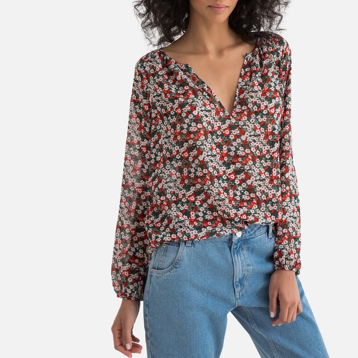 Блузка La Redoute С V-образным вырезом цветочным рисунком и длинными рукавами XS оранжевый блузка la redoute с круглым вырезом цветочным рисунком и длинными рукавами s черный