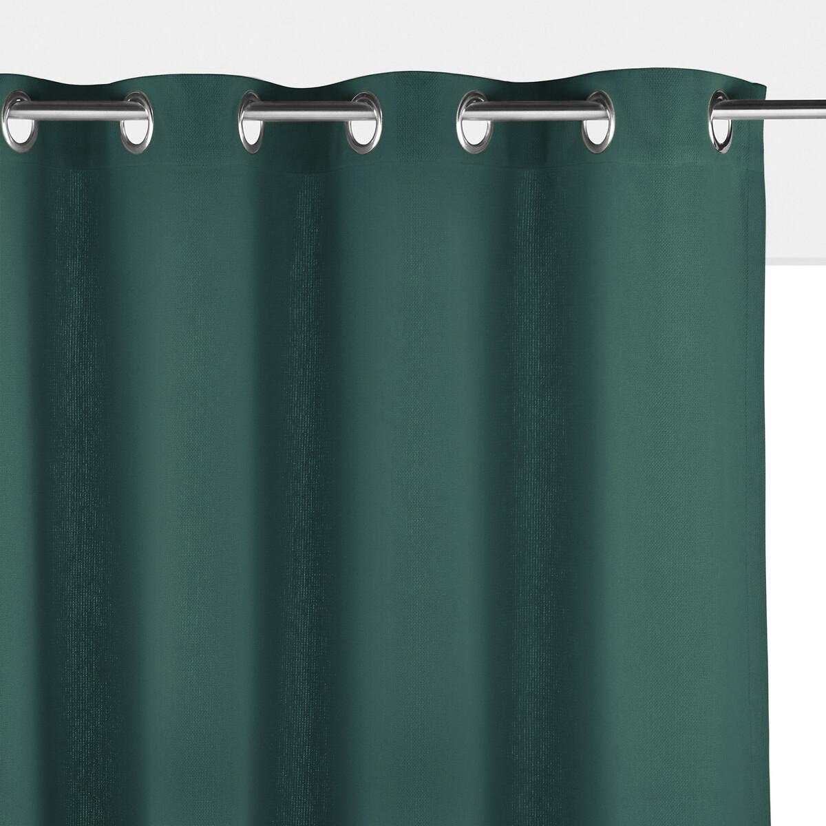 Штора LaRedoute Однотонная 100 хлопок Panama 260 x 140 см зеленый