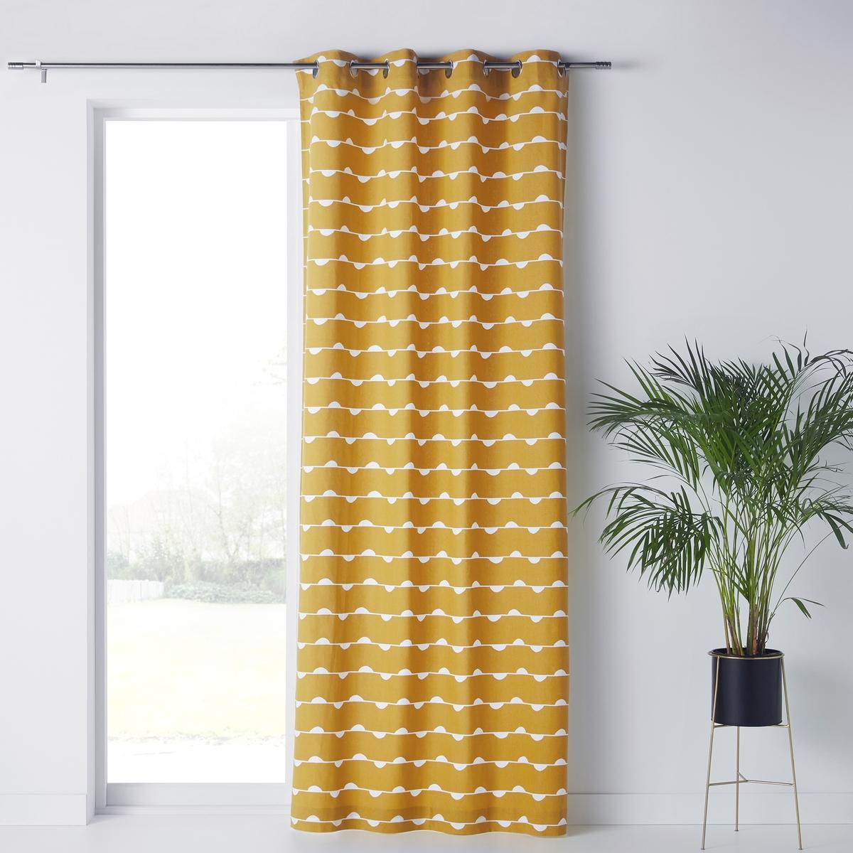 Штора LaRedoute С принтом Irun 350 x 140 см желтый