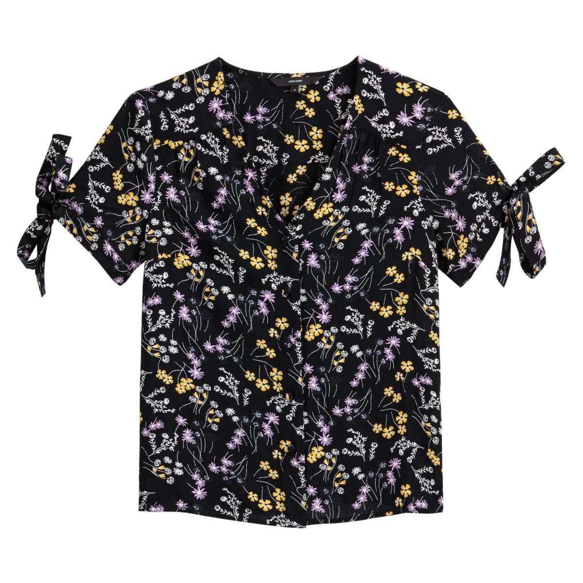 Блузка La Redoute С V-образным вырезом цветочным рисунком и короткими рукавами Lotus S черный блузка la redoute с круглым вырезом цветочным рисунком и длинными рукавами s черный
