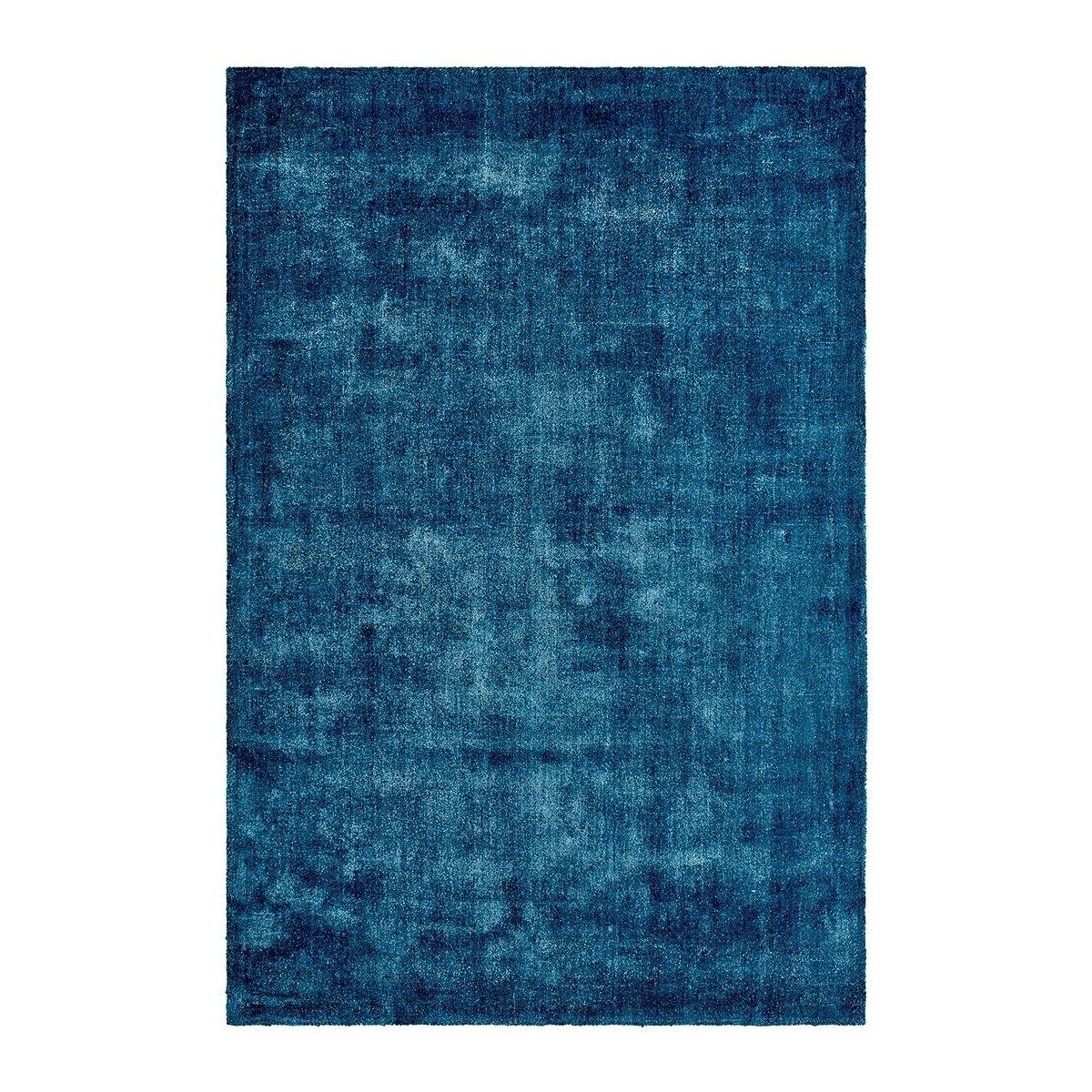 Tapis à poils court bleu en Tencel anti-tâches Vanity