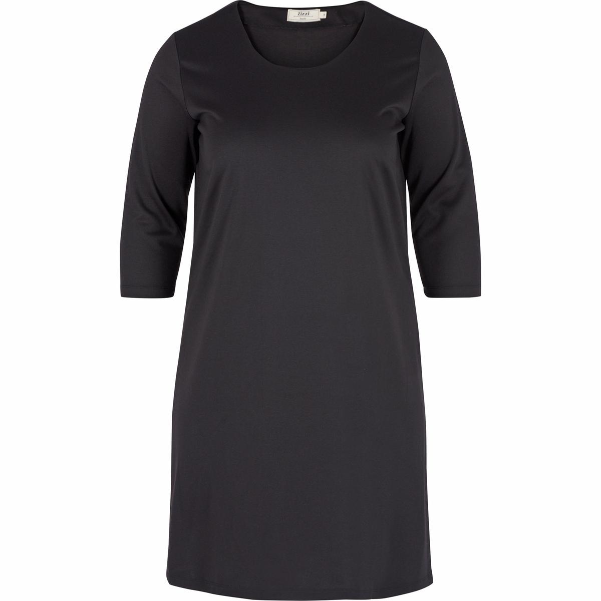 ПлатьеПлатье с рукавами 3/4 - ZIZZI. 95% полиэстера, 5% эластана. Красивое платье с рукавами 3/4 и круглым вырезом. Можно надевать для любого случая<br><br>Цвет: черный<br>Размер: 50/52 (FR) - 56/58 (RUS).46/48 (FR) - 52/54 (RUS)