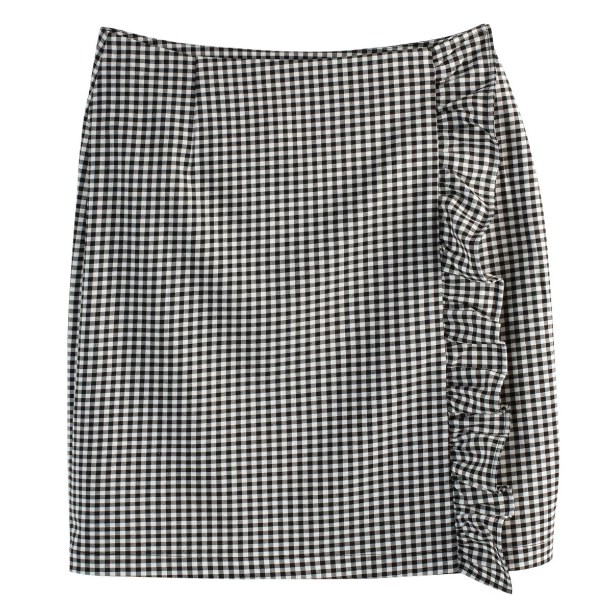 Falda recta y corta con estampado vichy