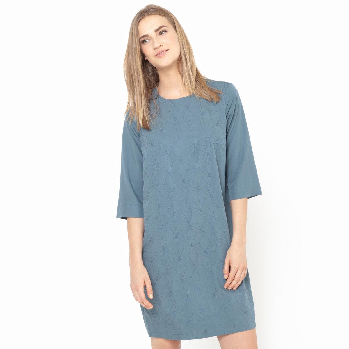 Платье с вышивкой, рукава 3/4Платье - NOA NOA. Рукава 3/4. Геометрическая вышивка спереди. Застежка сзади.Платье из 70% модала и 30% полиэстера.<br><br>Цвет: серо-зеленый<br>Размер: 36 (FR) - 42 (RUS)