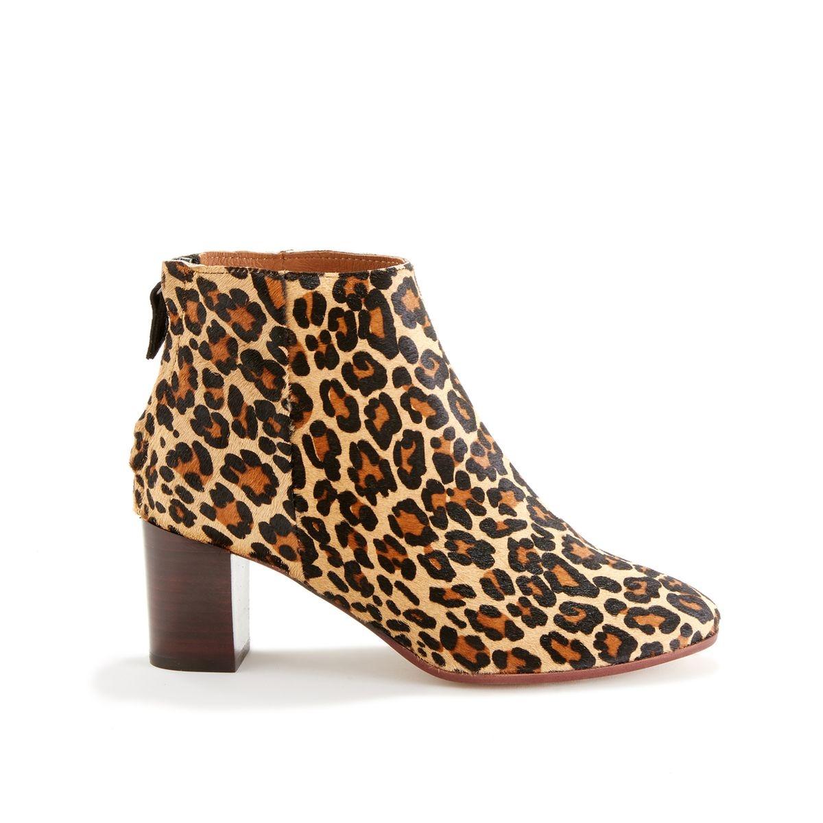 Boots à talon en cuir motif léopard ZOLEY