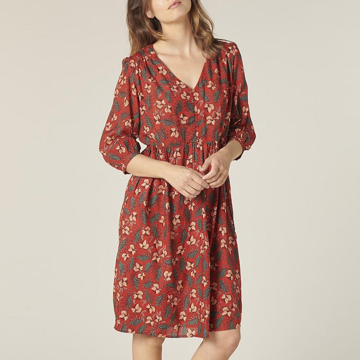 Платье La Redoute Расклешенное с короткими рукавами DARINETTE 38 (FR) - 44 (RUS) красный
