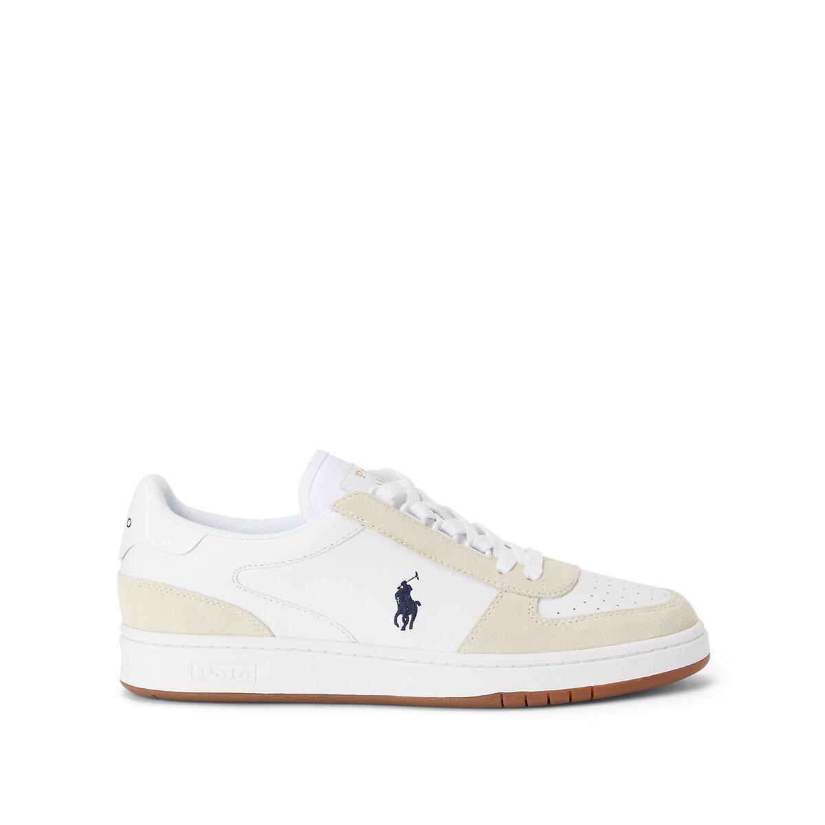 Polo Ralph Lauren Polo Court Sneakers met suède mix in wit met marineblauw ponylogo online kopen