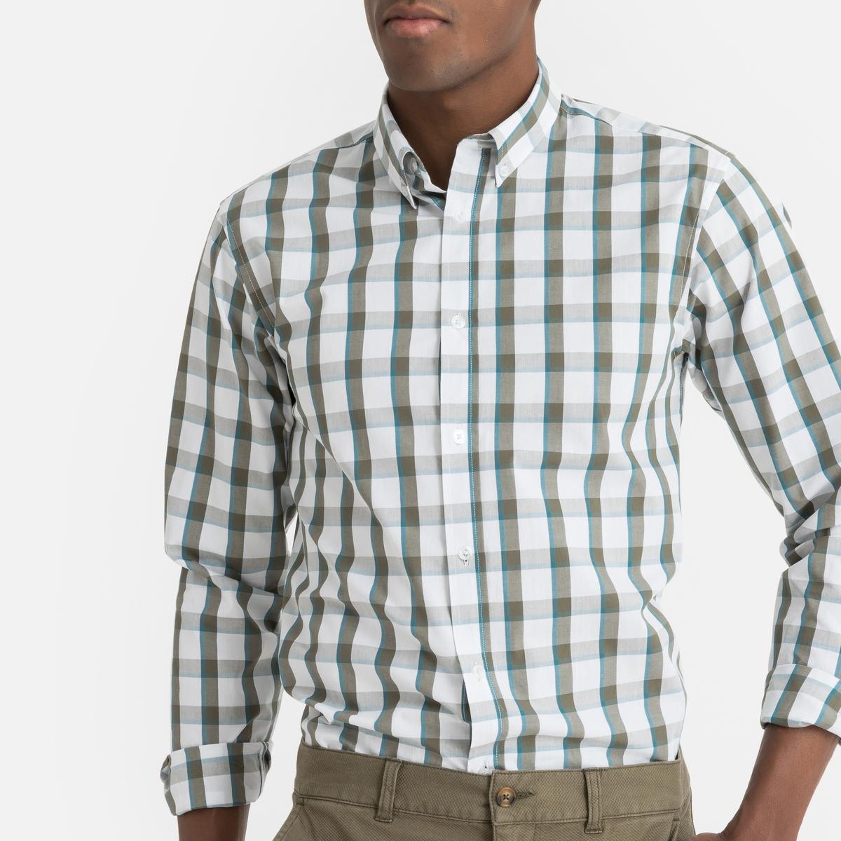 Рубашка La Redoute Прямого покроя в клетку с длинными рукавами 37/38 белый рубашка la redoute прямого покроя в клетку с длинными рукавами 45 46 серый