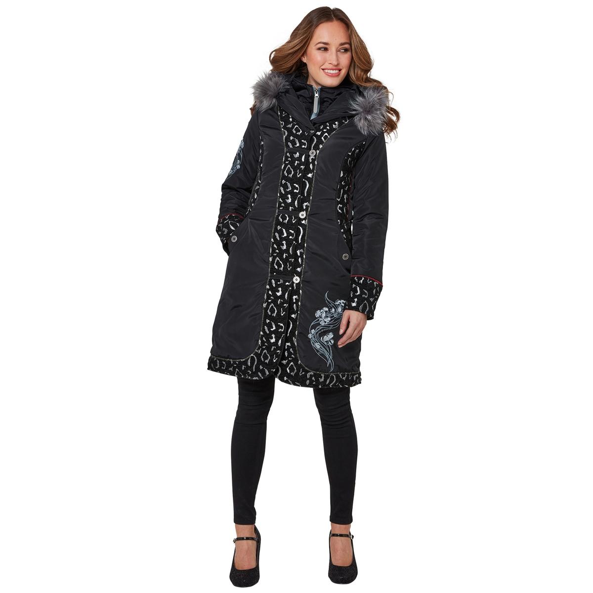 Пальто La Redoute Средней длины с капюшоном из искусственного меха 38 (FR) - 44 (RUS) черный цены