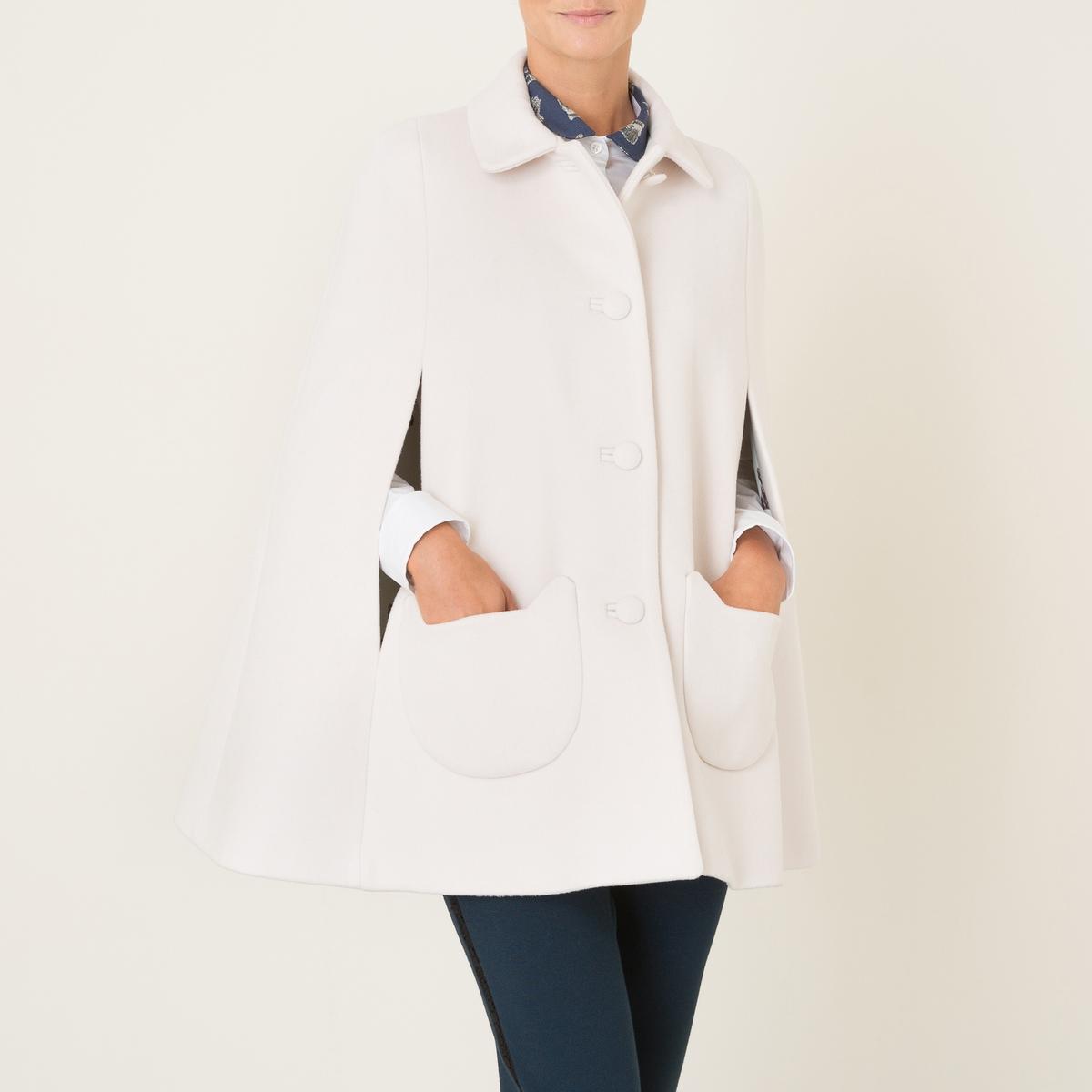 Пальто в стиле кейп ANATOLEСостав и описание Материал : 75% необработанной шерсти, 20% полиамида, 5% кашемираПодкладка    : 100% полиэстер Марка : PAUL AND JOE SISTER<br><br>Цвет: экрю<br>Размер: 38 (FR) - 44 (RUS)